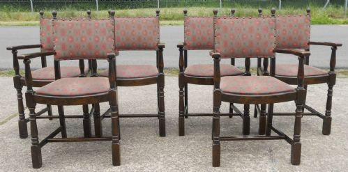 Set of Six Beech & Oak Carver Armchairs